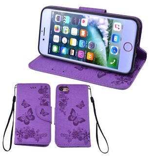 Magnetic Flap Closure Slim Flip Cover Leather Wallet Case Purple for iPhone 7