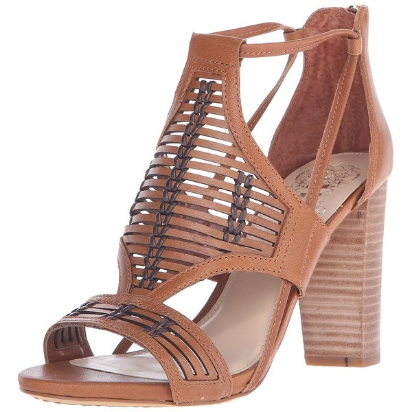 Vince Camuto Womens Ceara Leather Open Toe Casual Ankle Strap Brown Size 95