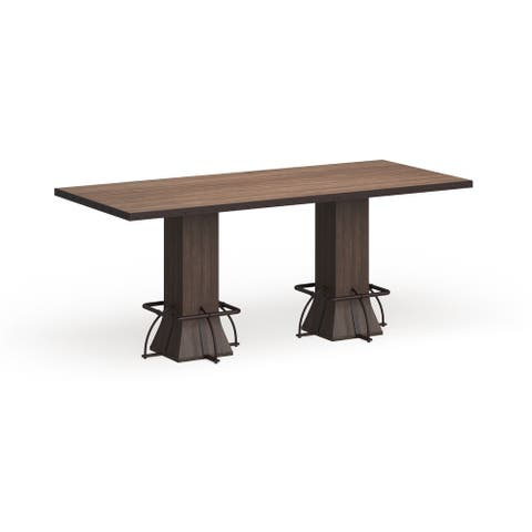 Carbon Loft Leona Walnut Wood/Metal Rectangle Counter-height Dining Table