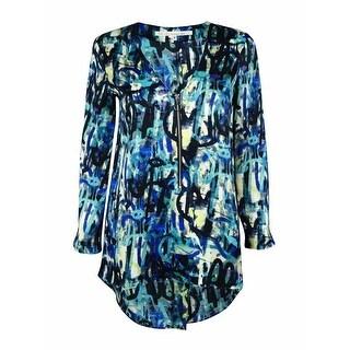 Rachel Roy Women's Zip Front Tunic Top - blue violet combo