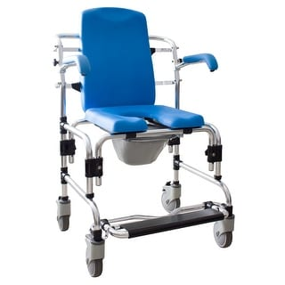 Caspian Professional Padded Mobile Bath Shower / Commode / Toilet Chair