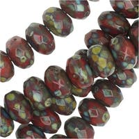 Czech Fire Polished Glass, Donut Rondelle Beads 7x4mm, 40 Pieces, Red / Dark Travertine