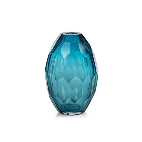 Nixie Hand Cut Blue Glass Vase