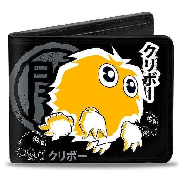 Kuriboh Pose Dark Kanji + Yu Gi Oh! Black Gray White Orange Bi Fold Wallet - One Size Fits most