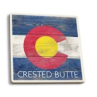 Crested Butte CO - Rustic State Flag - LP Artwork (Set of 4 Ceramic Coasters)