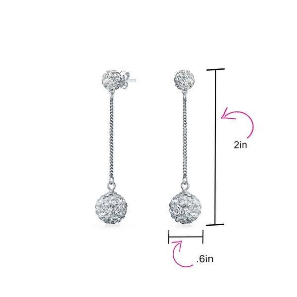 Women Double Side Disco Ball Pendant Crystal Dangle Drop Earrings Jewelry SI