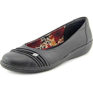 Soft Style by Hush Puppies Jordyn Women W Round Toe Leather Black Flats