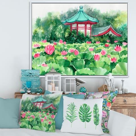 Designart 'Lotus Lake and Pagoda' Traditional Framed Canvas Wall Art Print