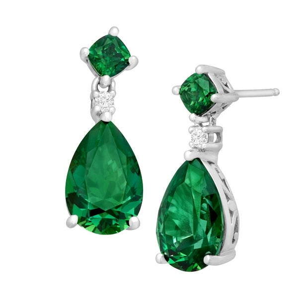 Drop Earrings with 11 ct Green Swarovski elements Zirconia in Sterling Silver