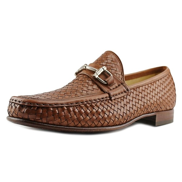 Mercanti Fiorentini 855 Woven Men Moc Toe Leather Brown Loafer