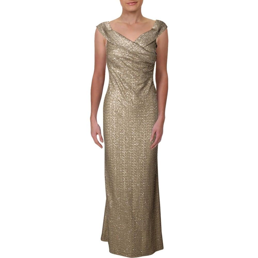 Lauren Ralph Lauren Womens Zofia Formal Dress Sequined Off-The-Shoulder
