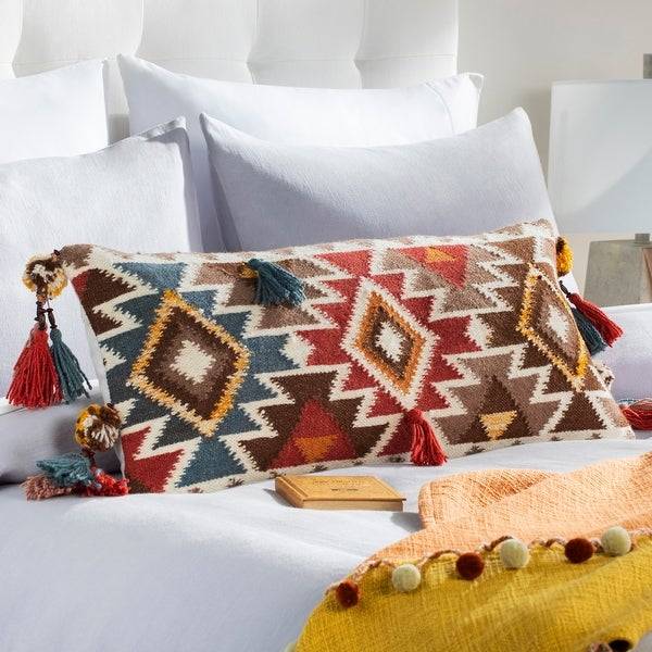 Dharma Wool Boho Tassel Lumbar Throw Pillow. Opens flyout.