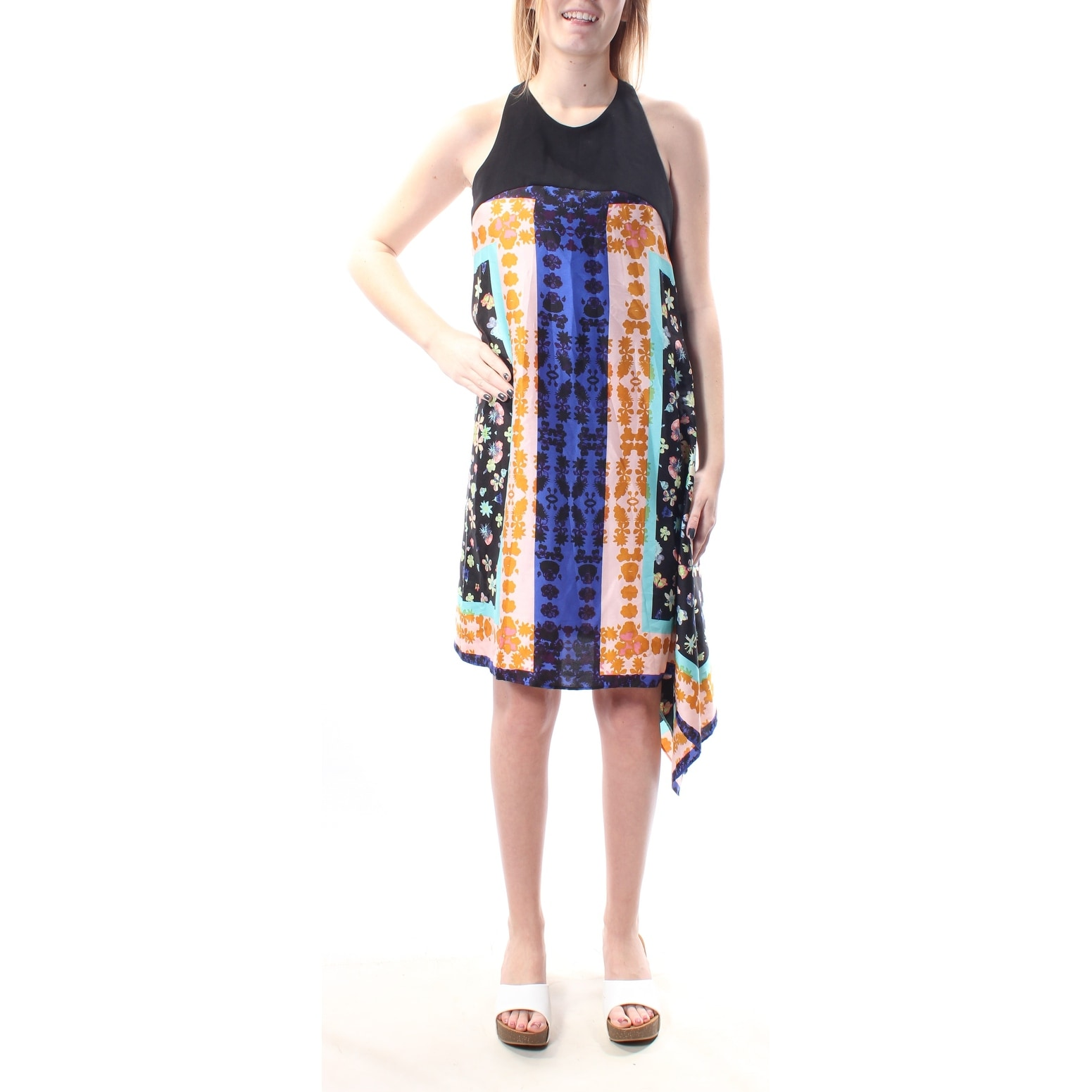 Rachel Roy Blue Black Sleeveless Mixed-Media Shift Dress S
