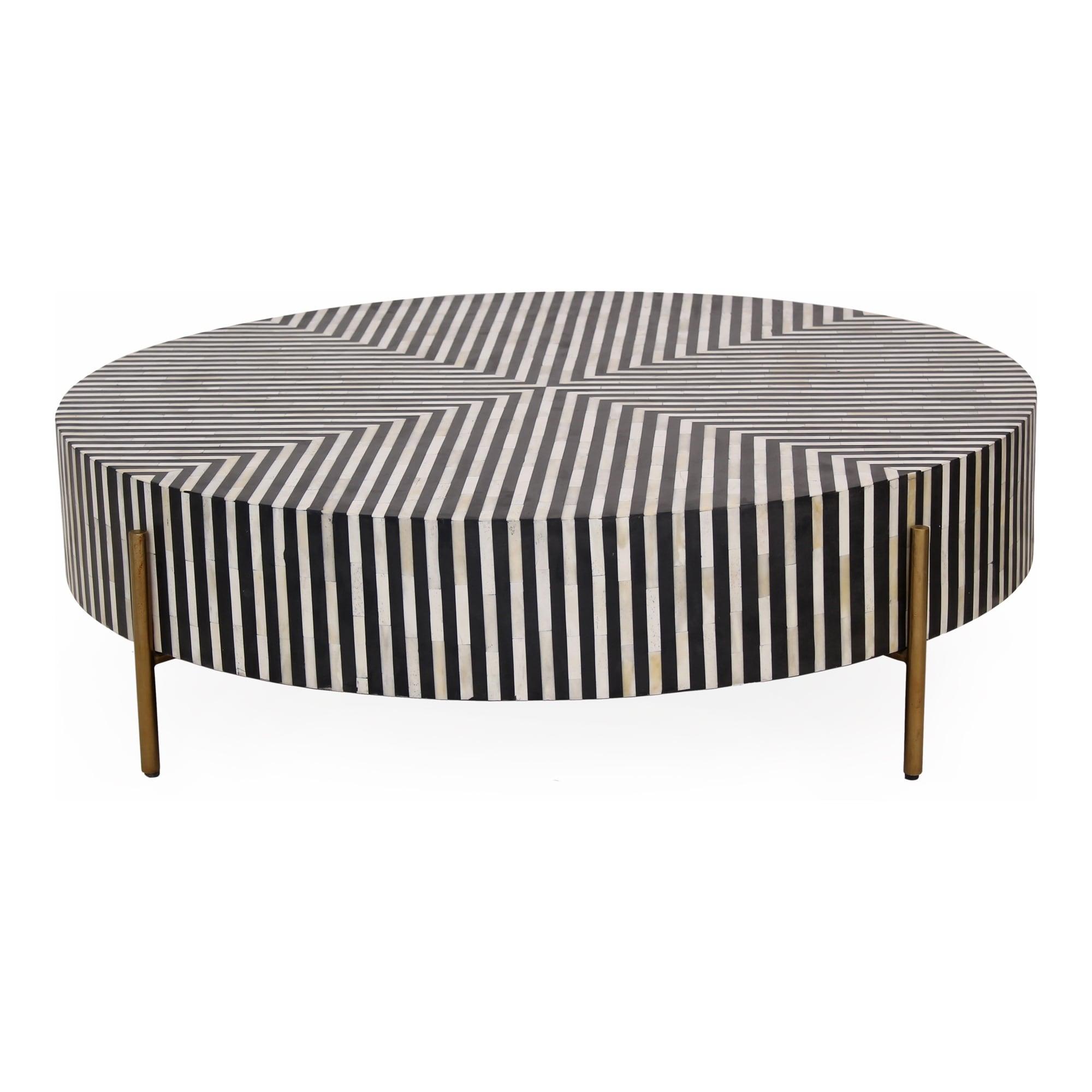 Aurelle Home Modern Large Round Camel Bone Veneer Coffee Table Overstock 31513366