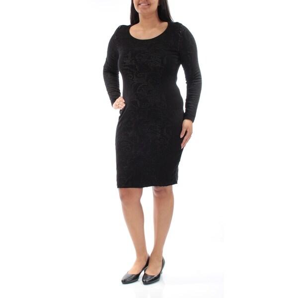 Shop Calvin Klein Womens Black Long Sleeve Jewel Neck Knee Length