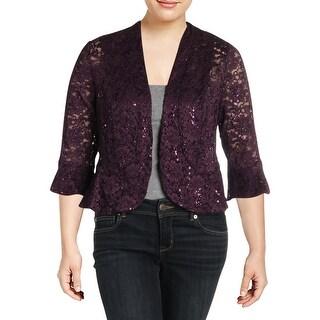 R&M Richards Womens Plus Jacket Lace Sequined - 14W