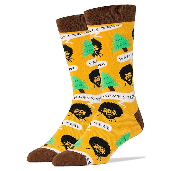 Bob Ross Happy Tree Men's Crew Socks - Multi