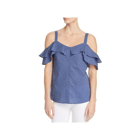 Paige Womens Cleva Button-Down Top Printed Cold Shoulder
