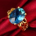 Saphire Center Gold Ring - Thumbnail 2