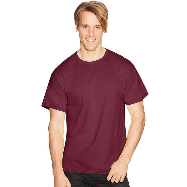 d419087a380 Shop Hanes ComfortBlend® EcoSmart® Crewneck Men's T-Shirt - Size - M -  Color - Maroon - Free Shipping On Orders Over $45 - Overstock.com - 13922436