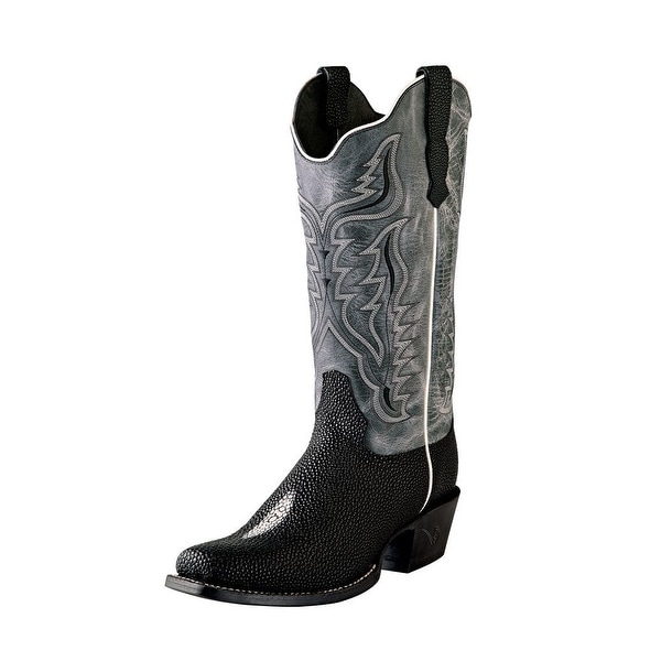 Outlaw Western Boots Women Stingray Print Straps Stitching Black