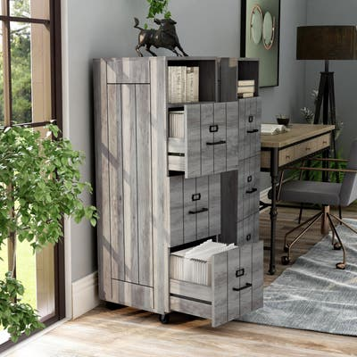 Furniture of America Bise Rustic Walnut 3-drawer File Cabinet