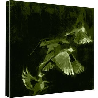 """PTM Images 9-98947  PTM Canvas Collection 12"""" x 12"""" - """"Bird Study 1 - Green"""" Giclee Birds Art Print on Canvas"""