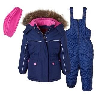 Pink Platinum Girls 4-6X Faux Fur Hooded 2-piece snowsuit
