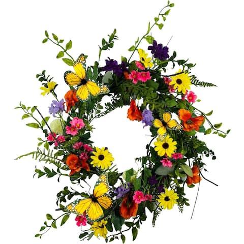 """Summer Garden Monarch Wreath 24"""""""