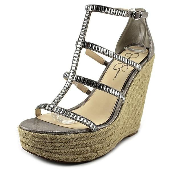 Jessica Simpson Adelinn Women Open Toe Canvas Silver Wedge Sandal