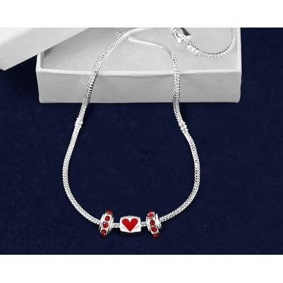 Chunky Charm Heart Necklace for Autism Awareness