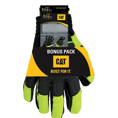 Cat CAT2224L/7418L Men's Mechanic's Glove,L, High-Vis Green