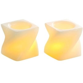 "Inglow CG24102CR201 Flameless Mini Twisted Squares Candle, 2"", Cream"