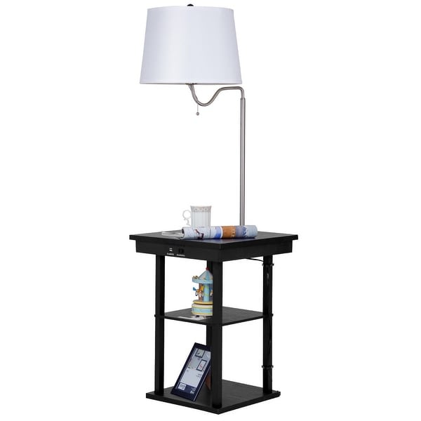 Living Room End Table Lamps: Shop Gymax Floor Lamp Swing Arm Lamp Built In End Table W
