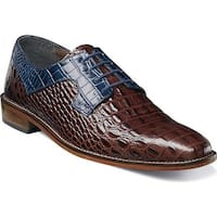Stacy Adams Men's Garelli Plain Toe Oxford 25116 Cognac/Dark Blue Croco Print Leather