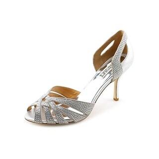 Badgley Mischka Tatiana Women Peep-Toe Suede Silver Heels