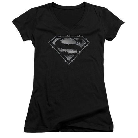 Superman Barbed Wire Juniors V-Neck Shirt