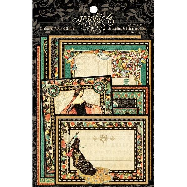 """Enchanted Forest Ephemera Cards-(16) 4""""X6"""" & (16) 3""""X4"""""""