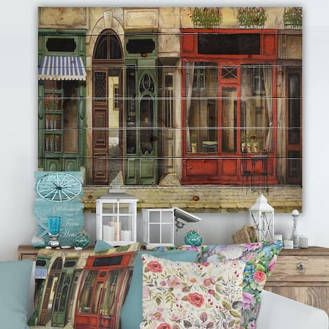 Designart 'Red Facade of Charming Shop In Paris II' French Country Print on Natural Pine Wood