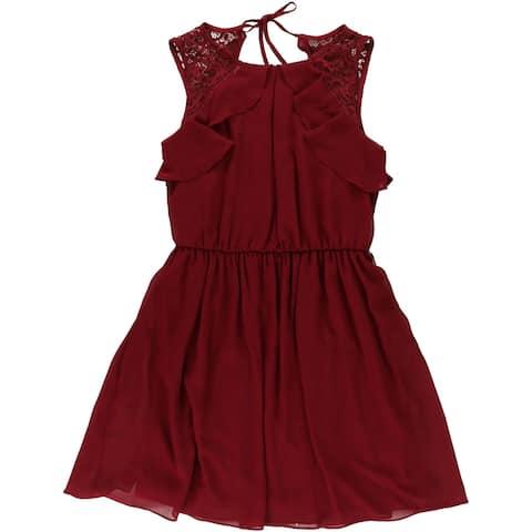 BCX Womens Ruffle Shift Dress, red, Small