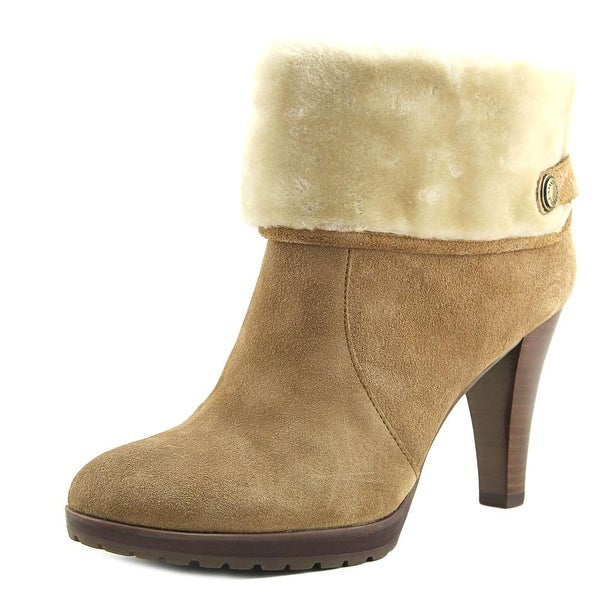 Anne Klein Teamy Women Round Toe Suede Brown Ankle Boot