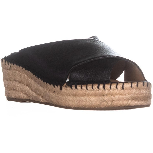 Franco Sarto Polina Espadrille Wedge Sandals, Black Leather