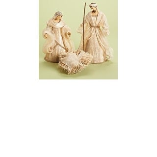 3-Piece Holy Family in Burlap Look Religious Christmas Nativity Figurine Set