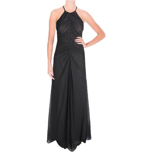 Vera Wang Womens Evening Dress Chiffon Pleated