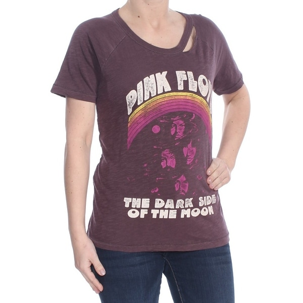 LUCKY BRAND Womens Purple Cut Out Heather Pink Floyd The Dark Side Of The Short Sleeve Crew Neck T-Shirt Top Size: L
