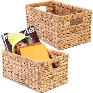 """Link to 2pcs Hand-Woven Wicker Storage Baskets 12.75""""x7.5""""x6"""" Rectangular Natural Brown - 12.75"""" X 7.5"""" X 6"""" Similar Items in Laundry"""