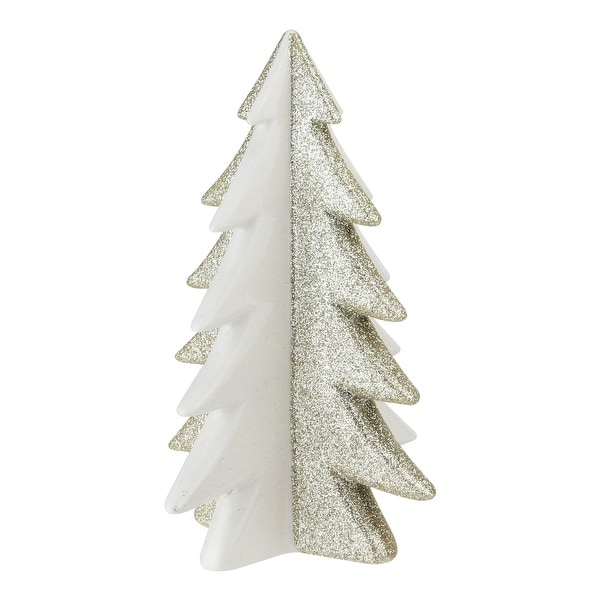 """6.5"""" Shimmery Gold and Porcelain White Decorative Christmas Tree Figurine - green"""