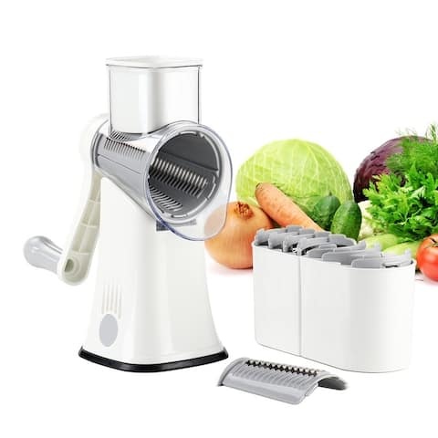 Caynel Rotary Cheese Grater Shredder with Handle 5 in 1 Manual Round Mandoline Slicer