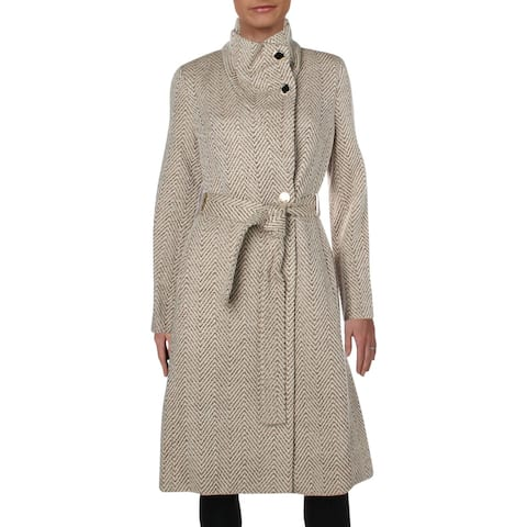 Ivanka Trump Womens Wrap Coat Winter Wool Blend