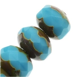 Czech Fire Polished Glass Faceted Rondelles 9x6mm - Blue Turquoise Picasso (10)
